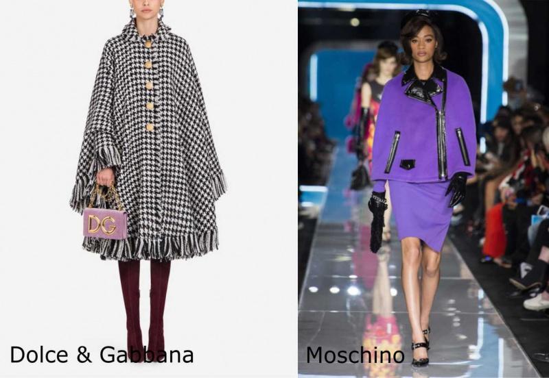 Moda donna cosa comprare per rinnovare il guardaroba autunno inverno mantella pied de poule bianco nero borsetta rosa Dolce & Gabbana stile anni sessante Moschino viola zip