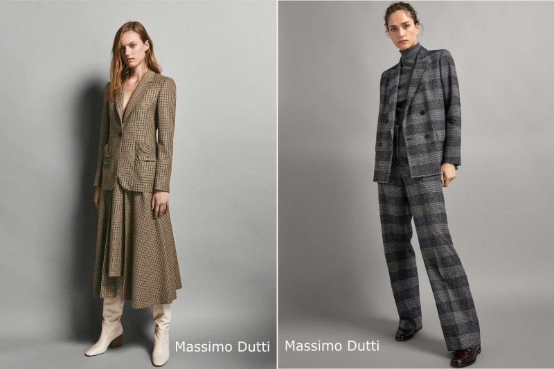 Moda donna cosa comprare per rinnovare il guardaroba autunno inverno completo tailleur gonna blazer quadri Massimo Dutti pantalone quadri grigio