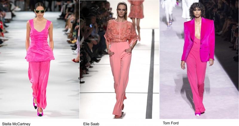 Moda 2018, le tendenze principali primavera estate sfilata passerella modelle Stella McCartney Elie Saab Tom Ford rosa total Pink