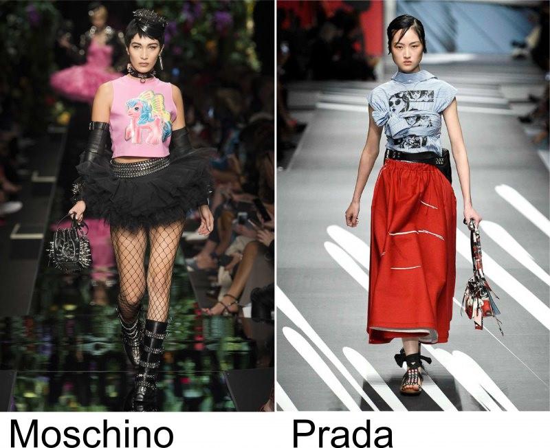 Moda 2018, le tendenze principali primavera estate sfilata modelle fashion passerella Moschino Prada fumetto