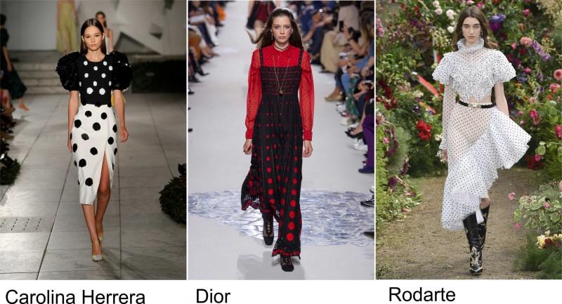 Moda 2018, le tendenze principali primavera estate sfilate fashion passerella Carolina Herrera pois bianco nero Dior rosso Rodarte