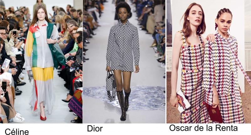Moda 2018, le tendenze principali primavera estate sfilate passerella fashion Céline Dior Oscar de la Renta stampa motivi geometrici
