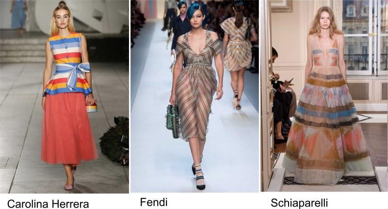 Moda 2018, le tendenze principali primavera estate sfilate fashion passerella modelle Carolina Herrera righe Fendi Schiaparelli