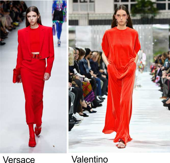 Moda 2018, le tendenze principali primavera estate sfilata fashion modelle passerella colore tendenza rosso Versace Valentino
