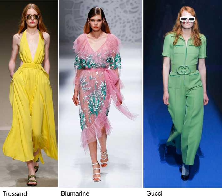 Moda 2018, le tendenze principali primavera estate sfilata fashion modelle passerella Trussardi giallo Blumarine rosa verde acqua Gucchi occhiali da sole
