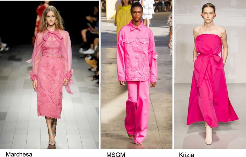 Moda 2018, le tendenze principali primavera estate sfilate passerella fashion modelle Marchesa rosa MSGM Krizia abito pantalone giubbotto shocking fucsia