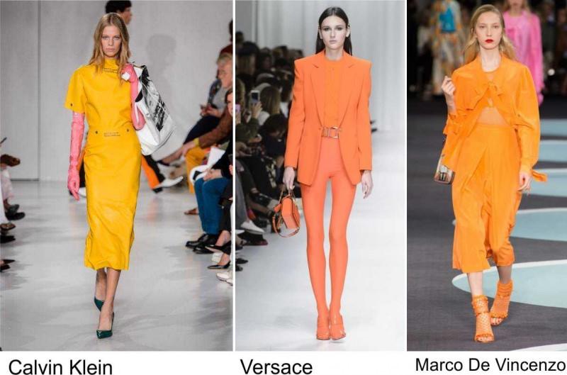 Moda 2018, le tendenze principali primavera estate sfilate colori tendenza giallo arancione fashion passerella modelle Calvin Klein Versace Marco Del Lorenzo