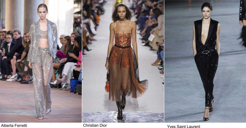 Moda 2018, le tendenze principali primavera estate sfilate fashion passerella glitter Alberta Ferretti argento Christian Dior bronzo oroYves Saint Laurent nero