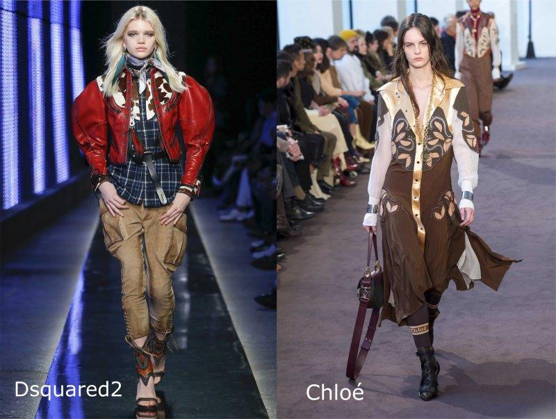 Moda, quali stili vedremo il prossimo autunno/inverno 2018 2019 western style Dsquared2 cowgirl Chloé