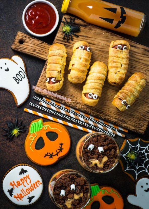 Halloween snack per bambini polpette a forma di mummia dolcetti tagliere biscotti happy halloween