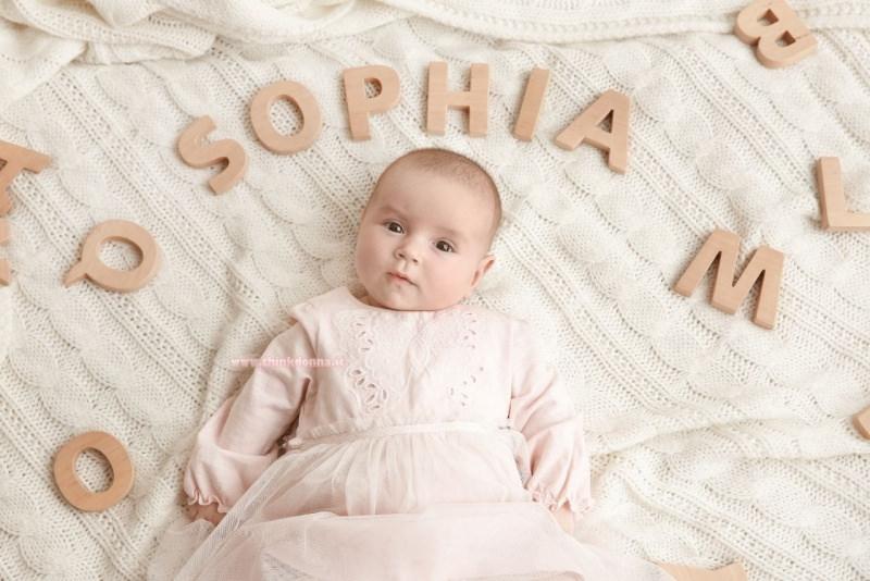 neonata copertina di lana nome lettere Sophia