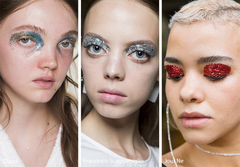 Come truccarsi la prossima primavera - estate 2018 ombretto glitter metal azzurro argento paillettes rosso viso donne modelle occhi azzurri