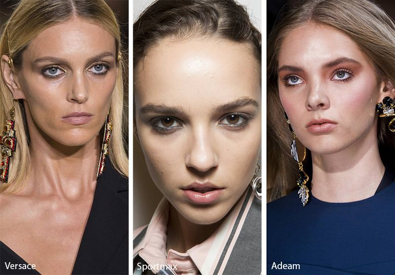 Come truccarsi la prossima primavera - estate 2018 make-up smokey eye soft modelle capelli biondi occhi azzurri ombretto marrone grigio
