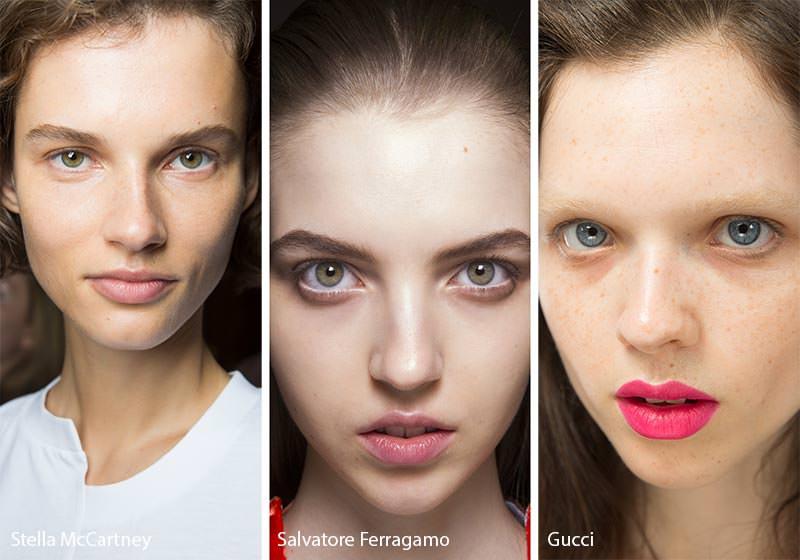 Come truccarsi la prossima primavera - estate 2018 make-up natural occhi verdi azzurri labbra rossetto rosa chiaro gloss rosa intenso