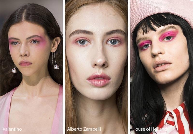 Come truccarsi la prossima primavera - estate 2018 ombretto eye shadow rosa modelle viso donna modelle sfilata tendenze