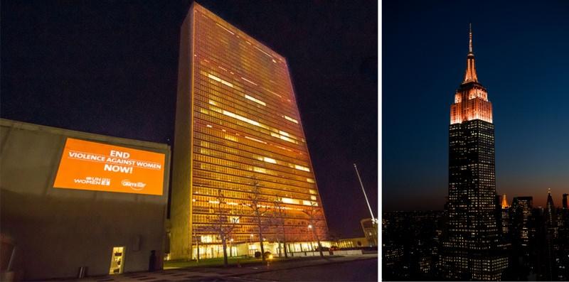palazzo di vetro onu empire state building illuminati colore arancio 24 novembre 25 giornata internazionale per l'eliminazione della violenza contro le donne
