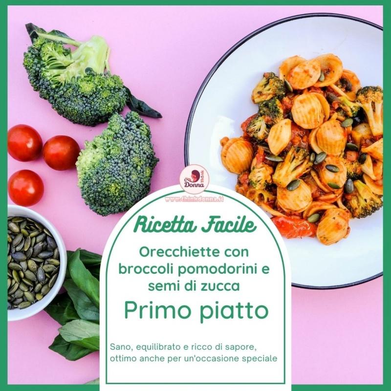 ricetta pasta broccoli pomodorini semi di zucca