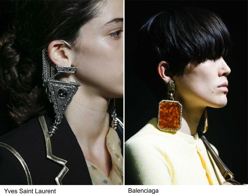 Gli accessori moda, le tendenze principali della prossima stagione primavera estate 2018 orecchini Yves Saint Laurent Balenciaga