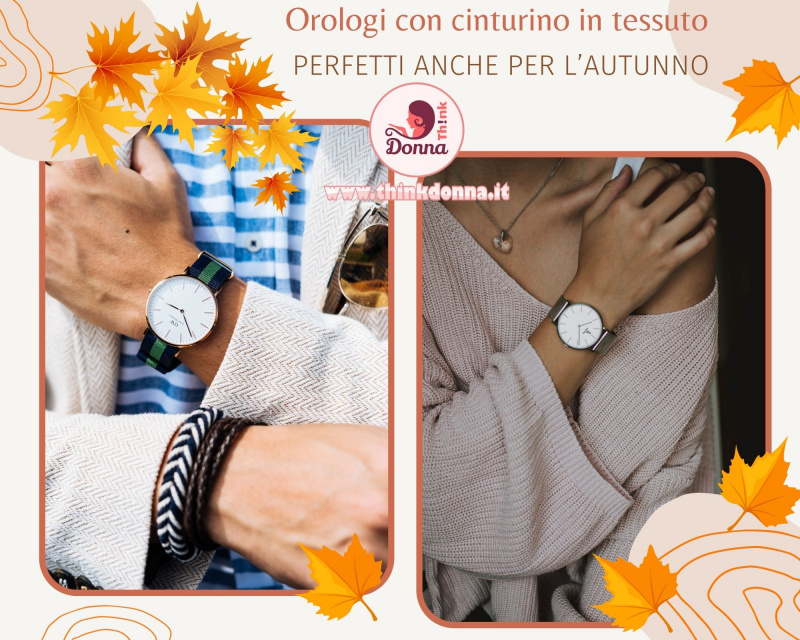 orologio uomo quarzo con cinturino donna pullover lana rosa foglie autunno