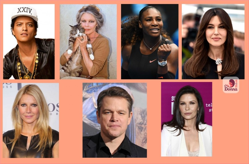Oroscopo 2018 star famosi nati sotto il segno della bilancia celebrità Bruno Mars, Brigitte Bardot, Serena Williams, Gwyneth Paltrow, Matt Damon, Catherine Zeta-Jones, Monica Bellucci