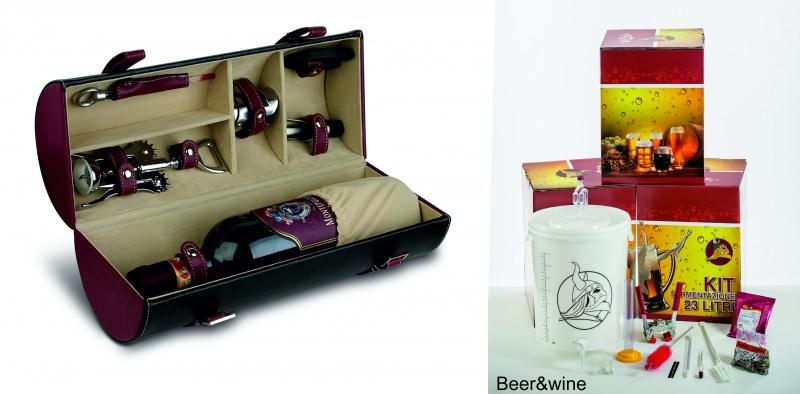 festa del papà 19 marzo regalo kit sommelier bottiglia vino rosso cavatappi termometro raccogligoccia scatola set birraio birra