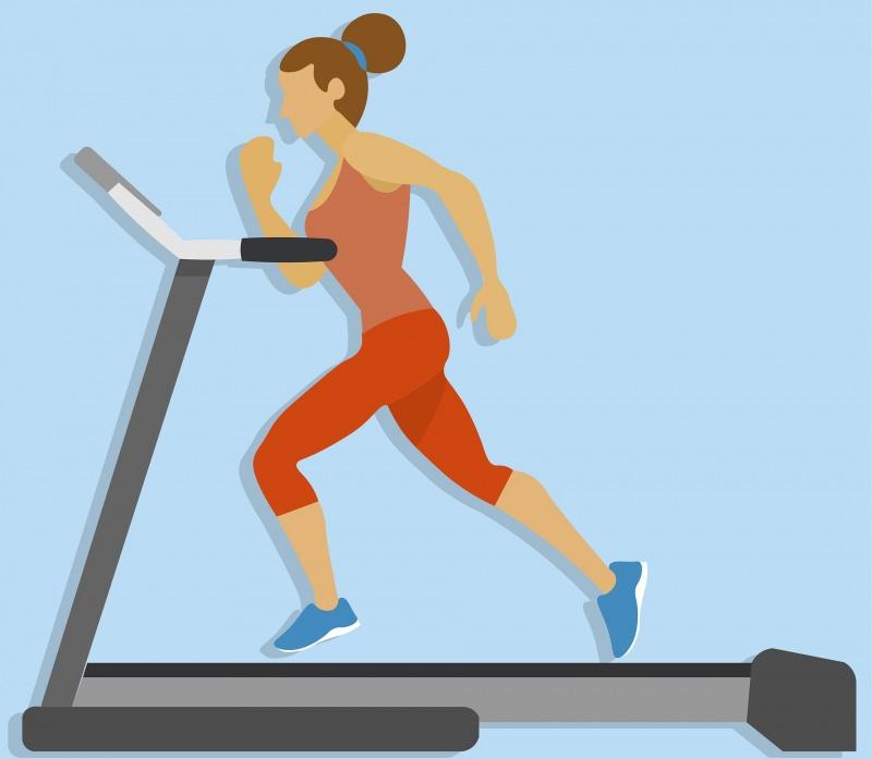 illustrazione donna corre sul tapis roulant