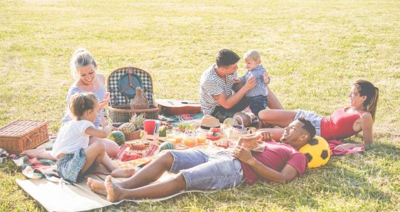 pic nic all'aperto famigle bambini relax prato campagna cesto