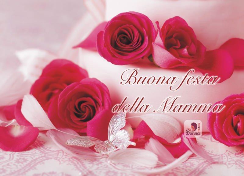 Torta di fragole dolce mamma fiori rose scritta auguri mamme