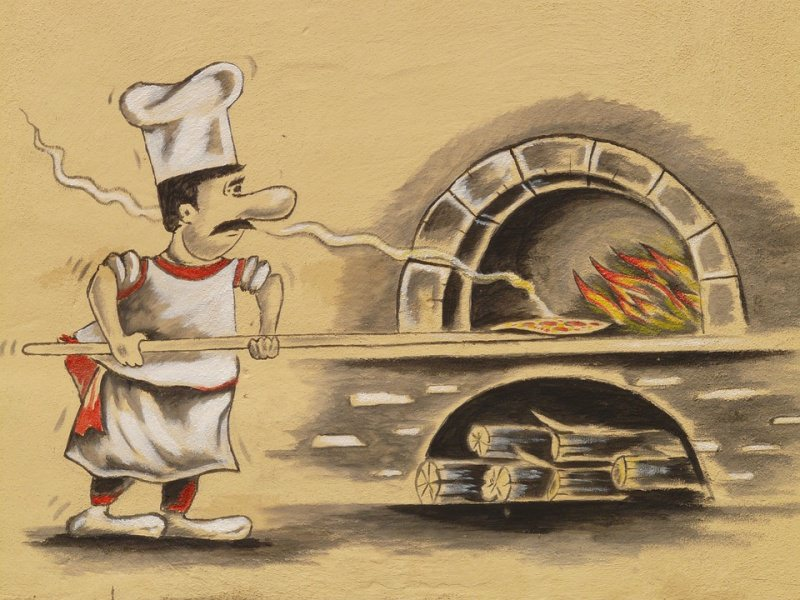 pizzaiolo pizza a pala forno a legna illustrazione