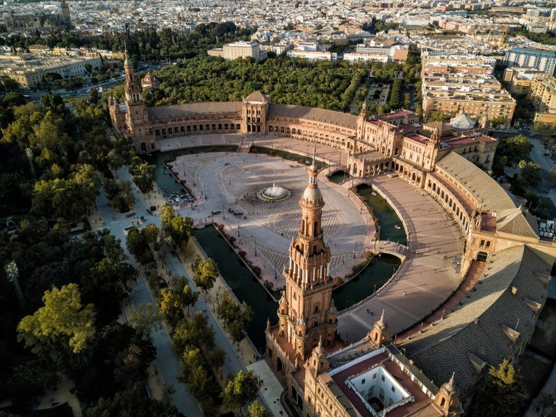 Plaza de España di Siviglia vista aerea dall'alto