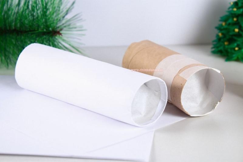 tutorial candela finta fai da te carta bianca rotolo cartone
