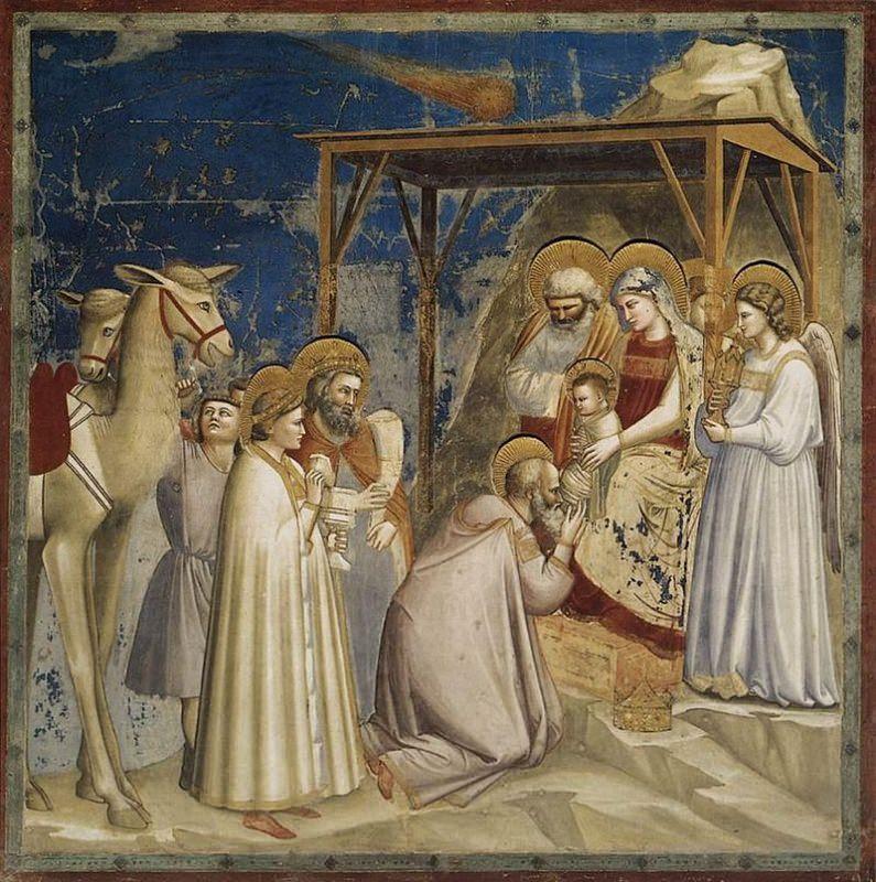 L'Adorazione dei Magi, affresco di Giotto Cappella degli Scrovegni a Padova dolce dell'epifania ricetta galette des rois i re magi cammelli cielo leggenda tradizione vangelo angeli gesù giuseppe maria betlemme.