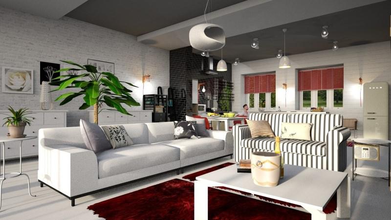 La sala da pranzo essenziale con personalità soggiorno divani