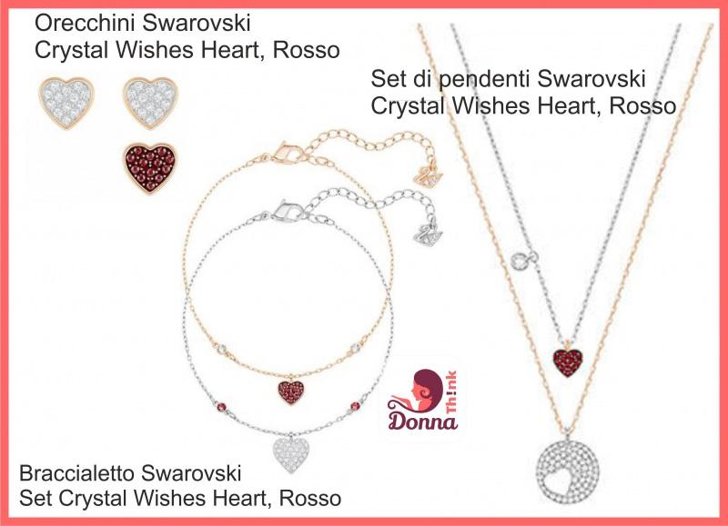Regali San Valentino per lei e per lui originali, economici e fai da te gioielli donna swarovki set orecchini collana bracciale crystal wishes heart rosso