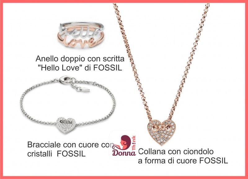 Regali San Valentino per lei e per lui originali, economici e fai da te gioielli donna anello scritta hello love collezione fossil collana bracciale pendente cuore cristalli