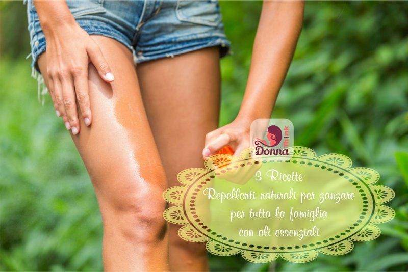 Repellenti naturali per zanzare 3 ricette per tutta la famiglia con oli essenziali gambe donna shorts jeans mano spray lozione antizanzara prato giardino verde foglie