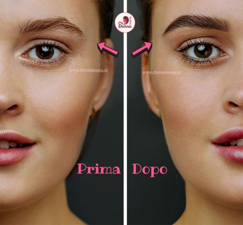 riempire le sopracciglia con ombretto matita effetto prima e dopo occhi castani