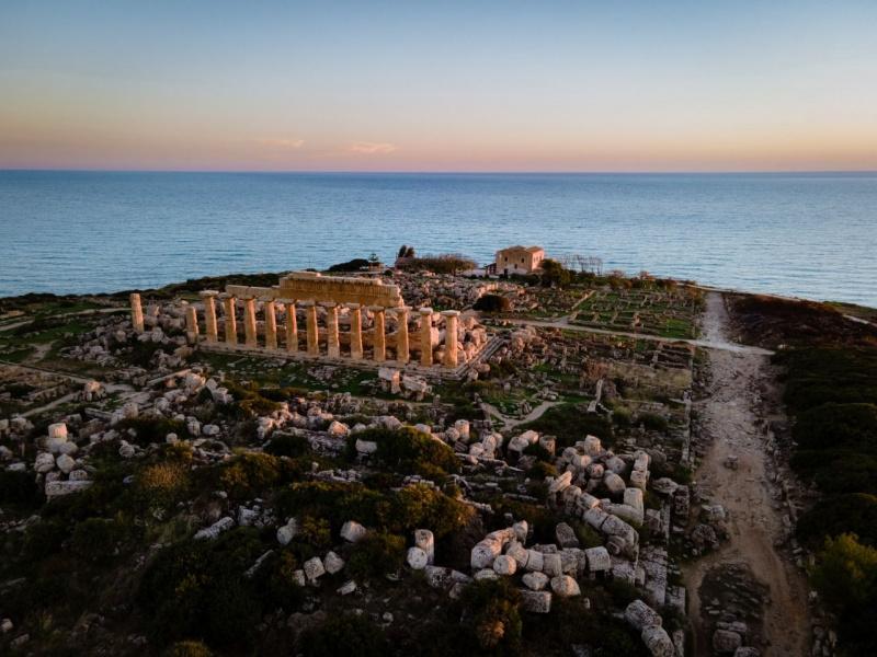 vista mare Selinunte tramonto parco archeologico