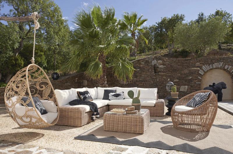 salotto da giardino resina intrecciata cuscini dondolo