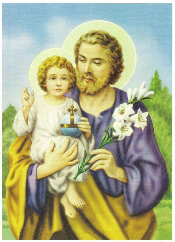 san giuseppe gesù bambino braccio giglio bianco icona quadro stampa santina festa papà patriarca
