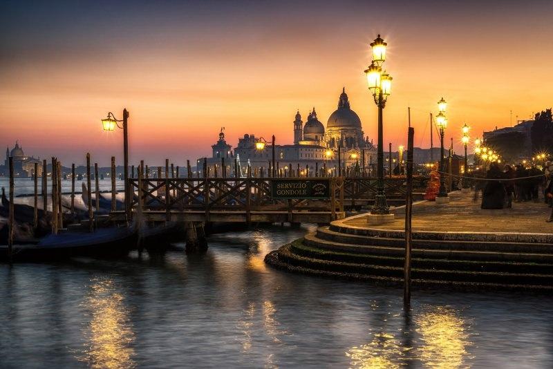 tramonto venezia san marco mare gondole
