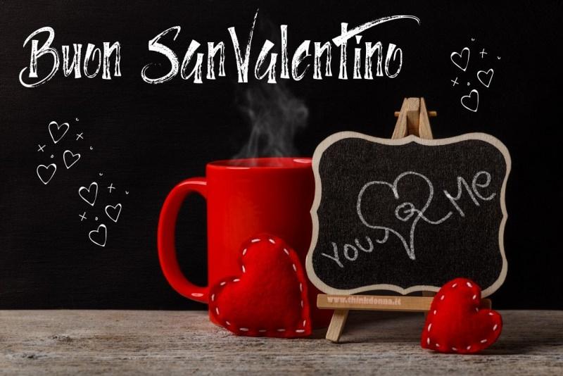 buon san valentino lavagna cuori you and me tazza rossa caffè