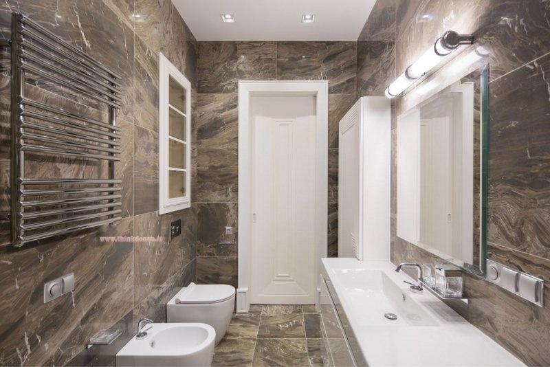 scaldasalviette e termoarredo nel bagno design marmo
