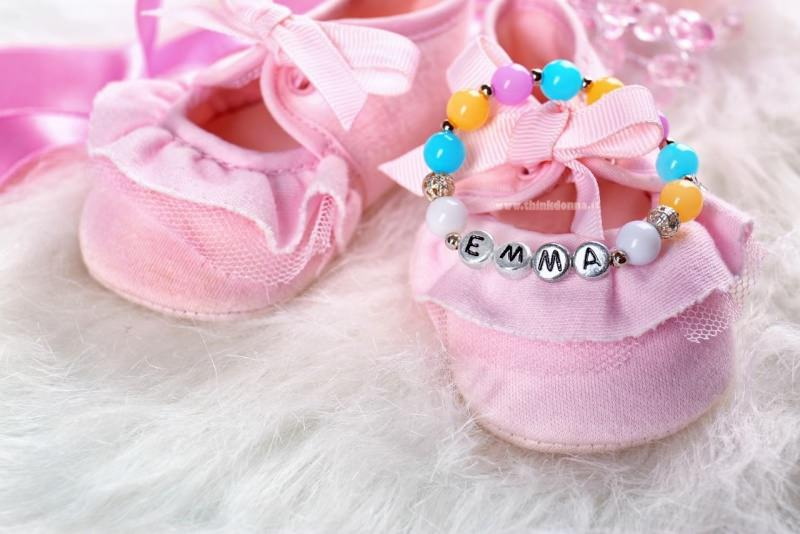 scarpine rosa bracciale nome Emma nascita