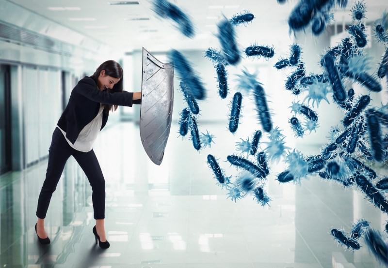 donna scudo contro le malattie germi e batteri