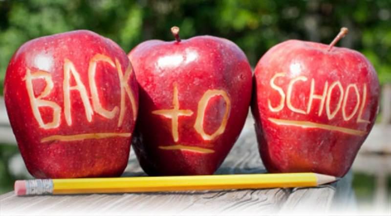 Tornare a scuola: ecco come affrontare lo stress da rientro mele rosse intagliate scritta back to school matita gialla gomma rosa
