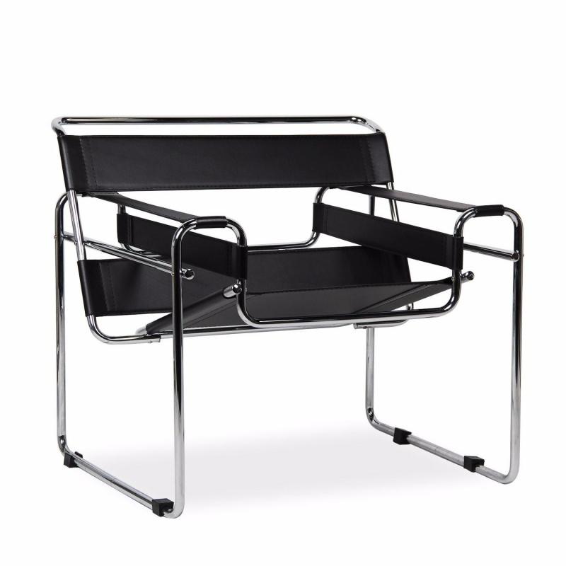 sedia Wassily, modello B3 realizzata in tubi d'acciaio e pelle e disegnata negli anni '20 da Marcel Breuer arredamento vivere con stile il moderno