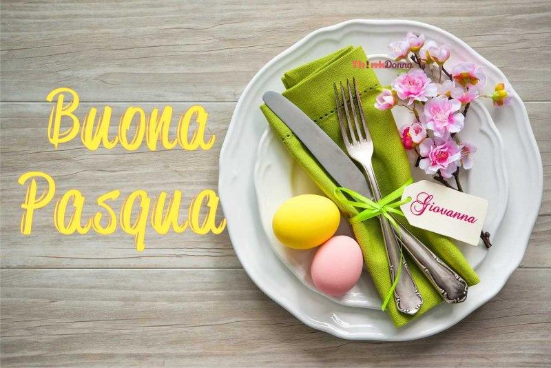 buona pasqua segnaposto decorazioni floreali scritta nome Giovanna piatto posate tovagliolo verde uova pasqua