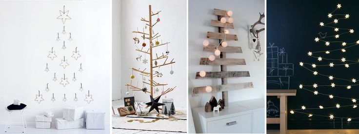 Albero di Natale in stile scandinavo | Decorazioni natalizie nordiche albero a muro luci legno stelle