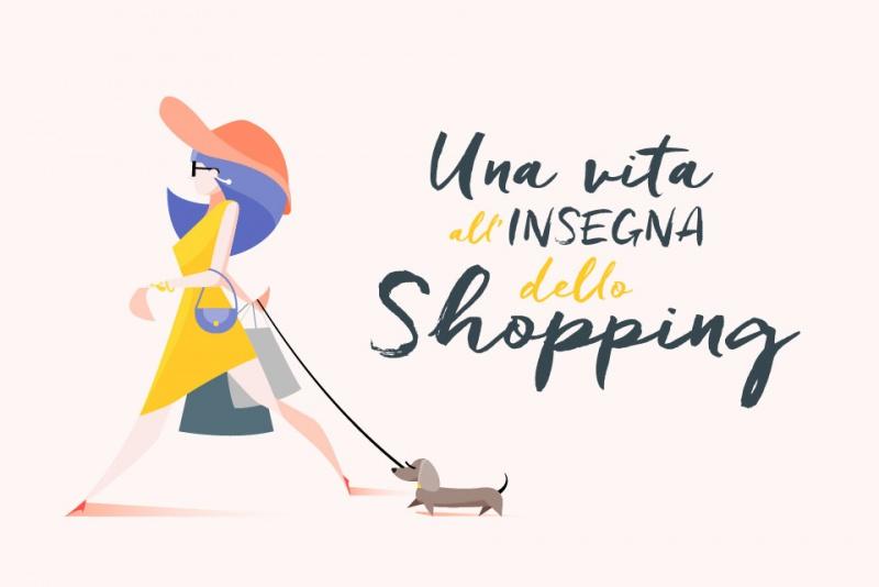 Una vita spesa a fare shopping? Ecco quanto vale! moda abbigliamento illustrazione donna borse spesa cane cappello occhiali da sole cartoon